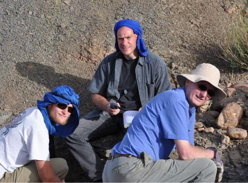 Figure 2. Jakob Vinther, Peter Van Roy and Derek Briggs in the field in Morocco.