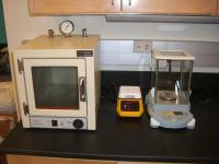 Vacuum oven, hot plate and microbalance.